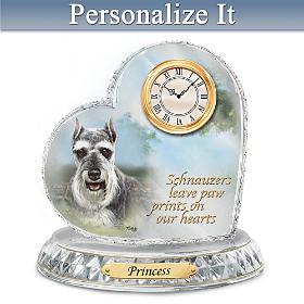 Schnauzer Crystal Heart Personalized Clock