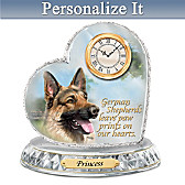German Shepherd Crystal Heart Personalized Clock