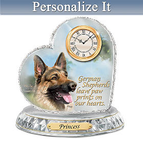 German Shepherd Crystal Heart Personalized Clock
