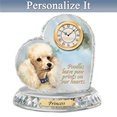 Linda Picken Poodle Crystal Clock With Your Dog's Name by