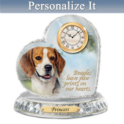 Linda Picken Beagle Crystal Clock With Your Dog's Name by