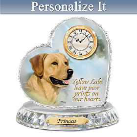 Yellow Labrador Crystal Heart Personalized Clock