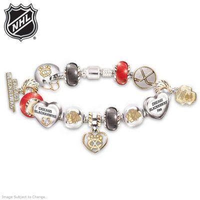 Blackhawks® Charm Bracelet With Swarovski Crystal by