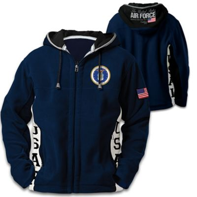 U.S. Air Force Men's Hooded Fleece Jacket With Motto by
