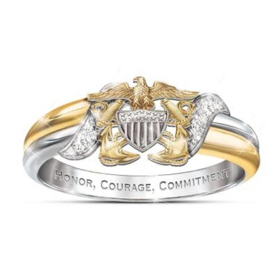 U.S. Navy Diamond Embrace Ring With Sculpted Navy Emblem by
