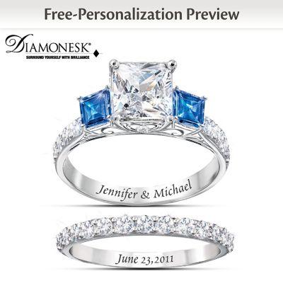 Something Blue Personalized Womens Bridal Ring Set