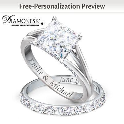 Princess PlatinumPlated Personalized Bridal Wedding Ring Set For Women
