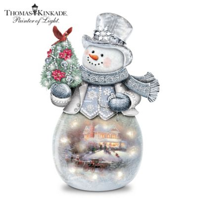 Thomas Kinkade Warm Winter's Glow Illuminated Glass Snowman by