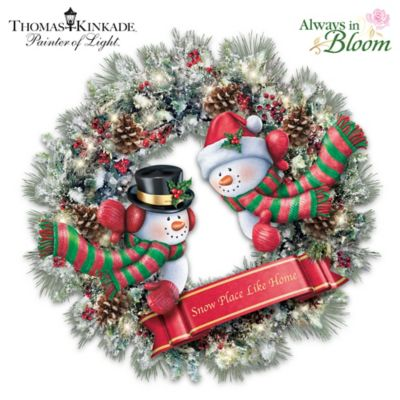 Thomas Kinkade Illuminated Always In Bloom Snowman Wreath by