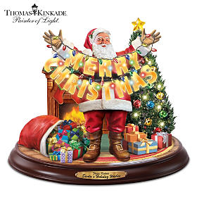 Thomas Kinkade Santa's Holiday Wishes Sculpture