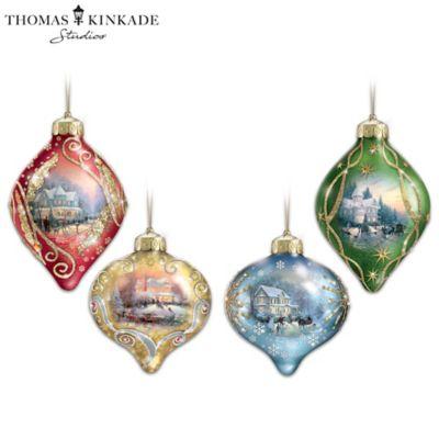 "Click here to buy Thomas Kinkade ""Light Up The Season"" Lighted Glass Ornaments."