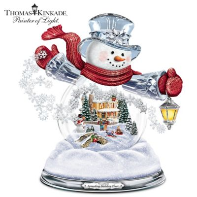 Thomas Kinkade Illuminated Musical Holiday Snowman Snowglobe by