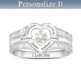 I Love My Family Personalized Diamond Ring