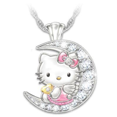 I Love You To The Moon And Back Hello Kitty Crystal Necklace by