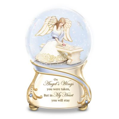 Forever In My Heart Musical Glitter Globe With Angel Inside by