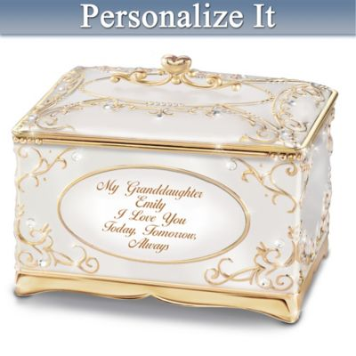 Granddaughter I Love You Music Box With 18k Gold Accents