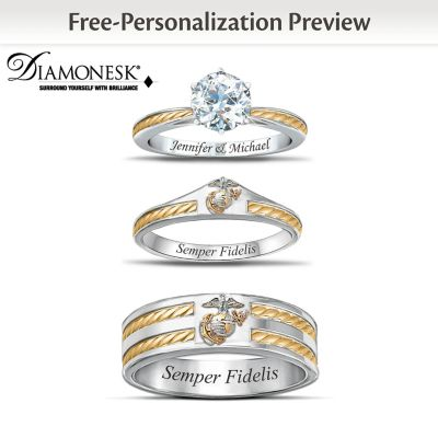 USMC His Hers Personalized Wedding Ring Set