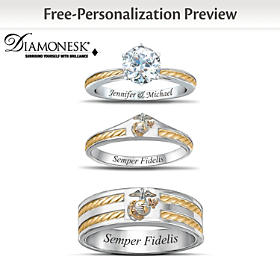 USMC His & Hers Personalized Wedding Ring Set