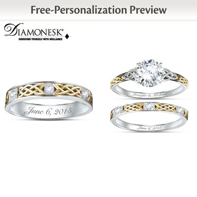 irish trinity knot his hers personalized wedding ring set - Personalized Wedding Rings