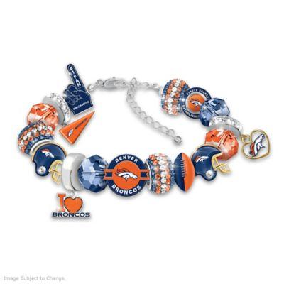 BAS Denver Broncos Metal Charm Bracelet 7 to 9 Adjustable