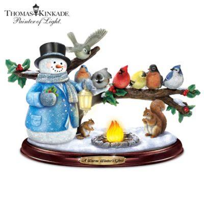 Thomas Kinkade Lighted Musical Snowman & Songbird Sculpture by
