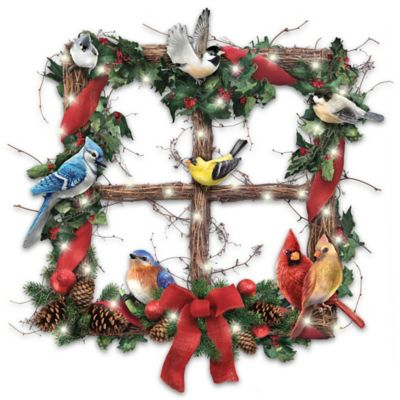 Merry Woodland Melodies Lighted Wreath Plays Songbird Sounds by