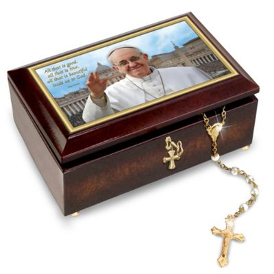Pope Francis Music Box With Golden Rosary And Prayer Card by