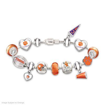 Clemson Tigers Charm Bracelet With Swarovski Crystals by