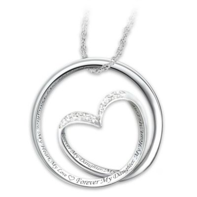 40 daughter necklaces pendants bradford exchange forever in my heart diamond pendant necklace aloadofball Gallery