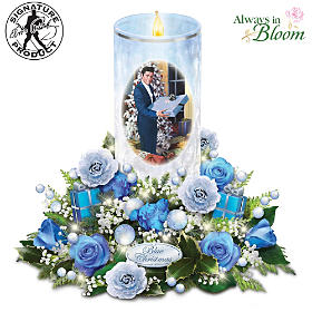 Blue Christmas Table Centerpiece
