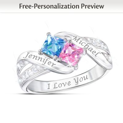 Together Cheek To Cheek Birthstone Ring With Engraved Names by