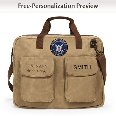 Click here to buy U.S. Navy Personalized Canvas Messenger Tote Bag With Name.
