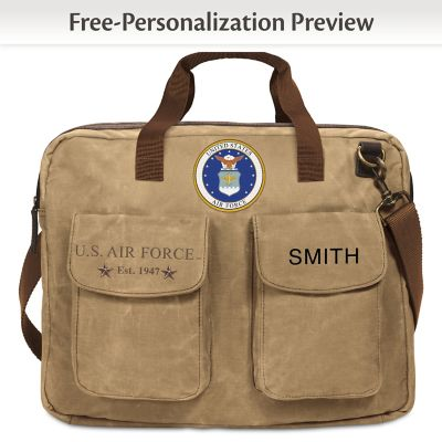 aaa513a665c1 U.S. Air Force Personalized Canvas Messenger Tote Bag