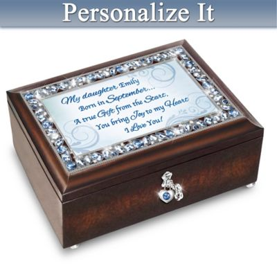 Birthstone Music Box With Daughter's Name In Sentiment by