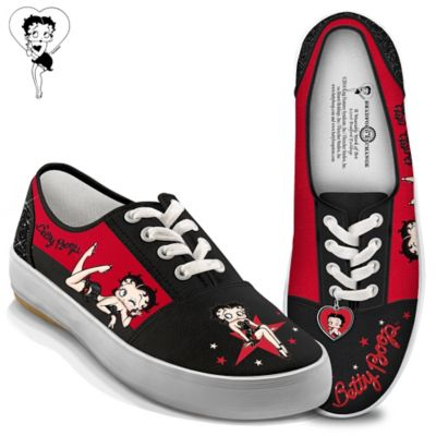 "Click here to buy Betty Boop ""Movie Star"" Canvas Sneakers With Heart Charm."