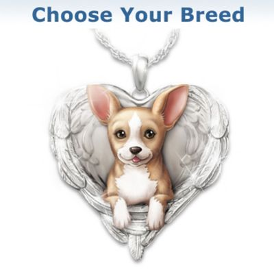 """Click here to buy """"Dogs Are Angels"""" Pendant Necklace: Choose Your Breed."""