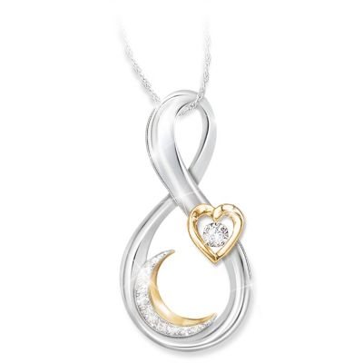 Love You To The Moon And Back Granddaughter Diamond Necklace by