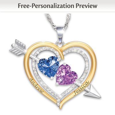 0dc7c05e915 Love Struck Womens Personalized Crystal Birthstone Pendant Necklace