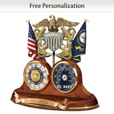 """Click here to buy """"Navy Values"""" Thermometer Clock With Custom Engraving."""