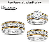 Western Romance His & Hers Personalized Wedding Ring Set