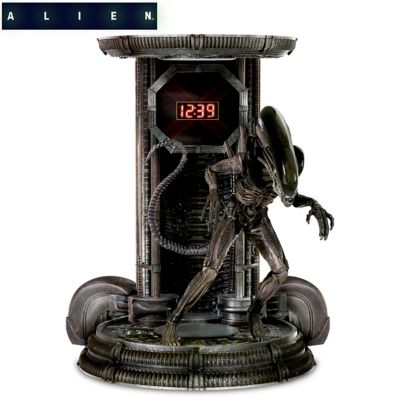 Alien Digital Clock With Sculptural Xenomorph Figure by