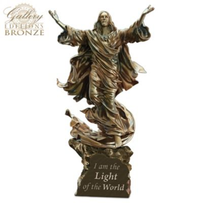 Light Of The World Religious Illuminated Cold-Cast Bronze Jesus Sculpture by