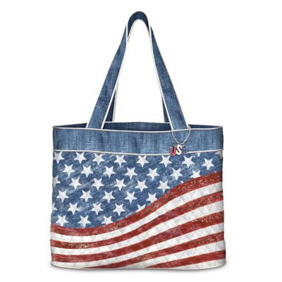 American Flag Inspired Quilted Women's Tote Bag by