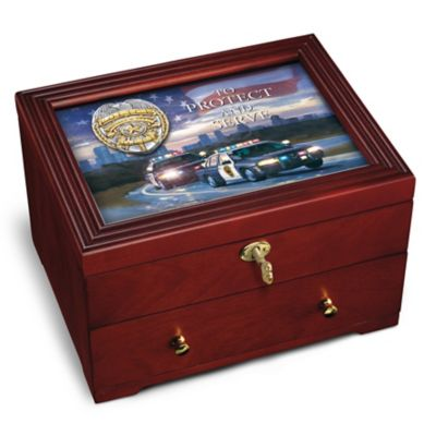 To Protect And Serve Police Keepsake Box With Rescue Artwork by