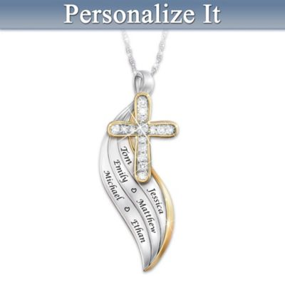 3d5d0608f Bless And Keep Us Womens Personalized Religious Diamond Pendant Necklace