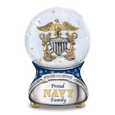 Proud Navy Family Musical Glitter Globe Plays Anchors Aweigh by