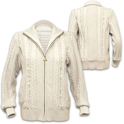 Irish Blessing Womens Cotton Cable Knit Zip Sweater Jacket