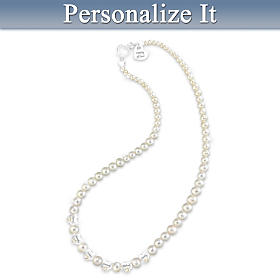My Family Personalized Diamond And Cultured Pearl Necklace