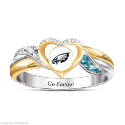 Philadelphia Eagles Pride Ring With Team-Color Crystals by