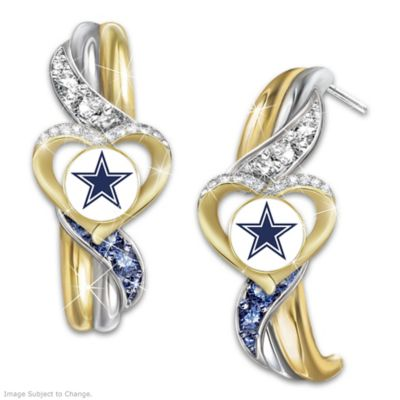 3101c5f4e438a5 Cowboys Pride Earrings With Team-Color Crystals. Dallas Cowboys Pride  Earrings